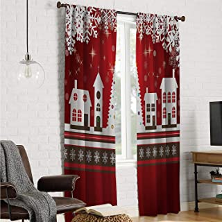Mozenou Bedroom Curtains Short Curtain Christmas,Winter Holidays Theme Gingerbread House with Trees and Snowflakes Artwork Print,Red White W120 x L108 Inch