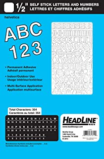 Headline Sign 31812 Stick-On Vinyl Letters and Numbers, White, 1/2-Inch
