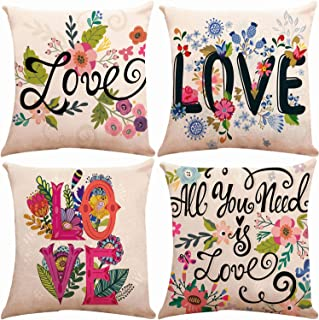 ZUEXT Spring Floral Love Theme Throw Pillow Covers 18 x 18 Inch, Set of 4 Square Cotton Linen Home Decorative Cushion Pillow Case Cover for Sofa Bench Bed Couch, Mother's