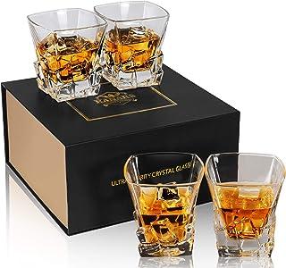 KANARS 4-teiliges Whiskygläser Set, Bleifrei Kristallgläser, Whiskey Glas, 300ml, Schöne Geschenk Box