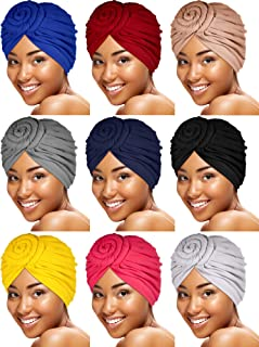 SATINIOR 9 Pieces Women Knotted Turban Hat African Cotton Turban Beanie Pre-Tied Bonnet Cap Headwrap