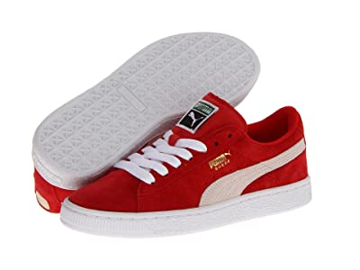 PUMA Kids Suede Jr (Big Kid) (High Risk Red/White) Kids Shoes
