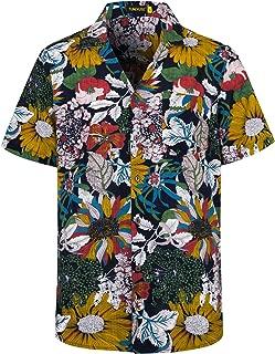TUNEVUSE Mens Relaxed-Fit Hawaiian Shirts Camp-Collar Floral Printed Beach Party Holiday Aloha Shirts Short Sleeve - Black - Medium