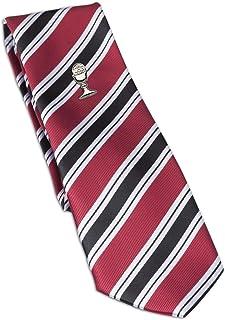 Boys Red Striped Tie andシルバーChalice最初聖体、45インチのタイピン