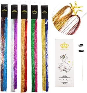 48'' Fairy Hair Tinsel with Kit Tools 2000 Strands 10 All Sparkling Color Shiny Hair Flairs Extensions (10 Colors/Pack)