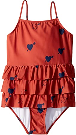 mini rodini - Heart Frill Swimsuit (Infant/Toddler/Little Kids/Big Kids)