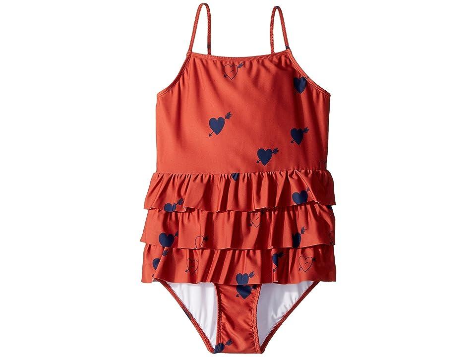 mini rodini Heart Frill Swimsuit (Infant/Toddler/Little Kids/Big Kids) (Red) Girl