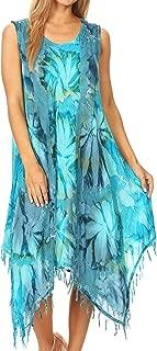 Sakkas Lara Women's Casual Fringe Loose Maxi Sleeveless Dress Caftan Cover-up