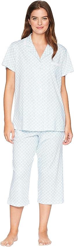Cotton Jersey Notch Collar Capris Pajama Set