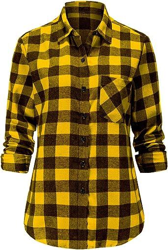 Dioufond Camisas de franela para mujer, de manga larga, con cuadros