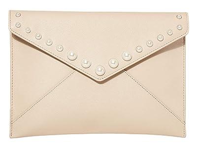 Rebecca Minkoff Leo Clutch w/ Pearl Studs (Tahini) Handbags