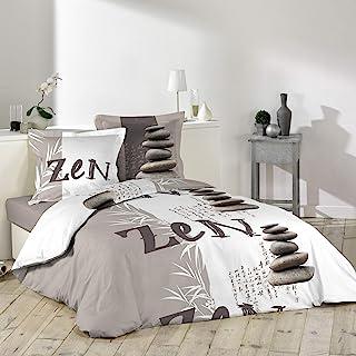 douceur d'intérieur 1641550 GALETS ZEN Parure avec 2 Taies d'oreillers Coton Multicolore 240 x 220 cm