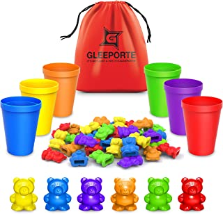 Rainbow Counting Bears With Matching Sorting Cups (67 Pcs Set) + FREE Storage Bag | STEM Educational Gift For Toddler | Mo...