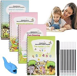 English Magic Practice Copybook for Kids, 4 Pieces Reusable Writing Practice Book Set, Magic Calligraphy Tracing Copybook,...