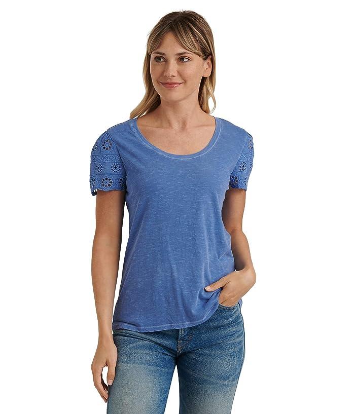 Lucky Brand  Short Sleeve Crew Neck Eyelet Sleeve Tee (Sodalite Blue) Womens Clothing