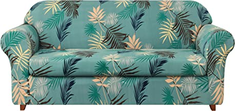 subrtex 2-Piece Durable Soft High Stretch Leaves Printed Sofa Slipcovers, Furniture Protector Machine Washable Couch Covers, 2 Seater (Aqua)