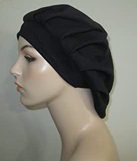Women's Pleated Black Knit Snood Religious Head Cover Chemo Hat Alopecia Cancer Hat