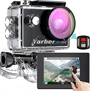 Yarber Action Cam, Touch Screen 4K Ultra HD 170°WiFi 30FPS 20MP Impermeabile 40M Fotocamera con EIS Hyper Stabilizzata Vid...