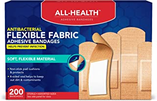 All Health Antibacterial Flexible Fabric Adhesive Bandages, Assorted Sizes, 200Count