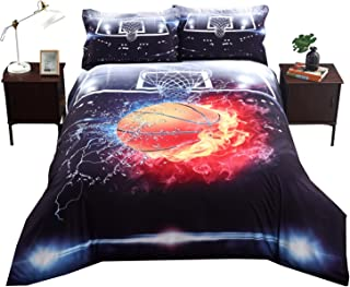 ENCOFT Basketball Duvet Cover Sheet Sets with Fitted Sheet and Pillowcases 4 Pieces Bedding Sets Twin/Full/Queen Size