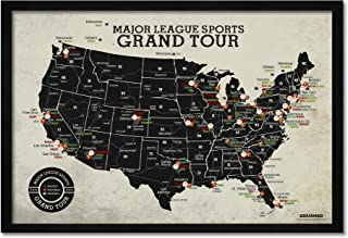 Grand Tour Stadium Map: Baseball + Hockey + Football Stadiums, Framed Push Pin Map - Includes 100 Mixed Colored Map Pins
