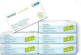 Ivyone - Toallitas Secas de Algodón, Algodón Natural y Biodegradable para Pieles Sensibles, Toallitas para Bebés, Toallitas de Maquillaje y Paños Desechables, 600 Toallitas