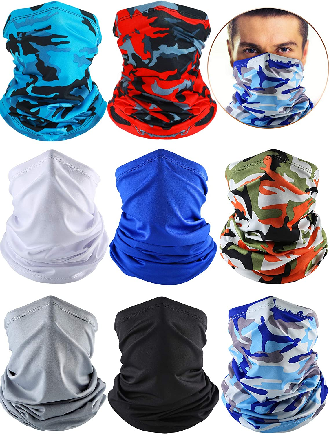 8 Pieces Summer UV Protection Scarf Coolin Neck Seattle Lowest price challenge Mall Gaiter Balaclava
