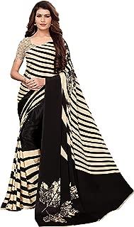 Anni Designer Women's Cream Color Crepe Silk Printed Saree With Blouse Piece(Aakruti-140_Free Size)