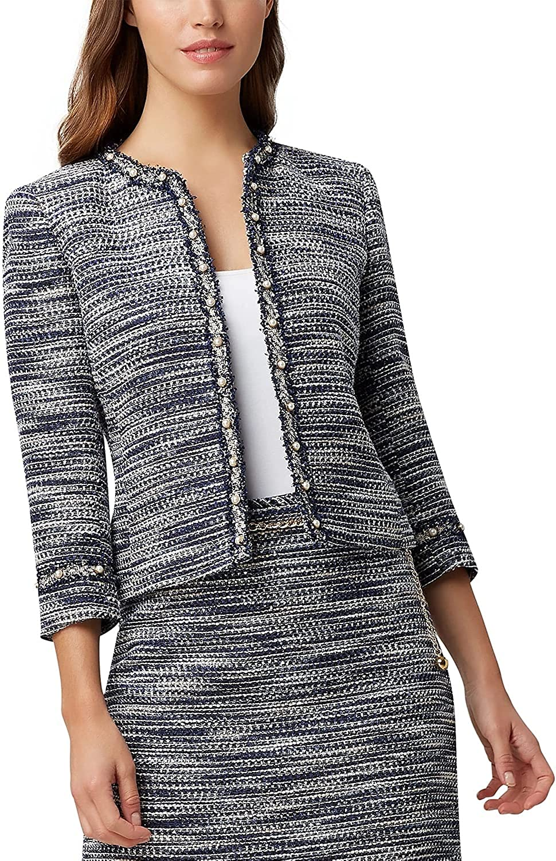 Tahari ASL Women's Pearl Trim Boucle Jacket