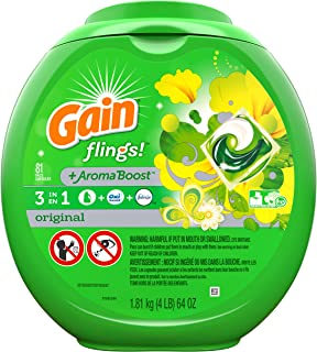 Gain flings! Liquid Laundry Detergent Pacs, Original, 81 Count