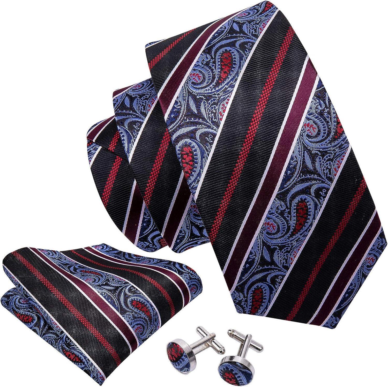 HiTie Classic Paisley Necktie Set Hanky Cufflinks
