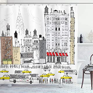 Ambesonne City Love Shower Curtain, Busy City Traffic Jam Yellow Taxi Cab Urban Life Cartoon Design Modern Style Art, Cloth Fabric Bathroom Decor Set with Hooks, 70