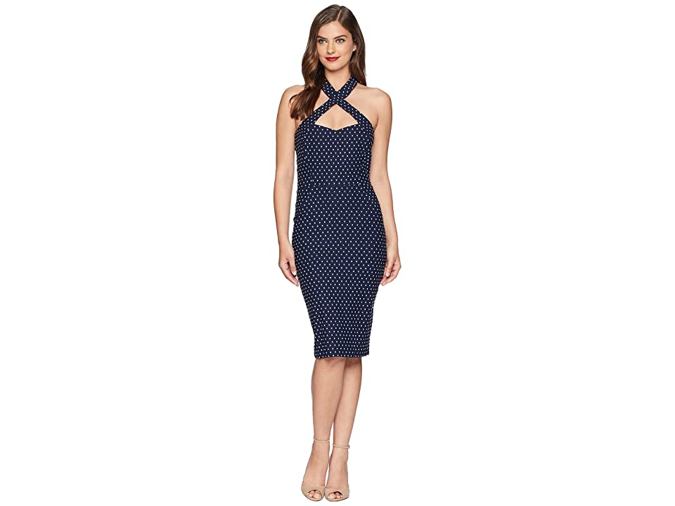 Unique Vintage Penelope Wiggle Dress (Navy/White Pin Dot) Women