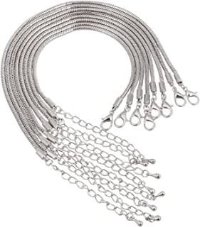 RUBYCA European Charm Bracelet Silver Color Snake Chain Lobster Clasp Jewelry Making 7.1 Inch 10pcs