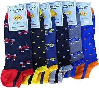 Lucchetti Socks Milano 6 PAIA fantasmini uomo cotone colorati fantasia filo di scozia pois disegni calzini corti alla cavi...