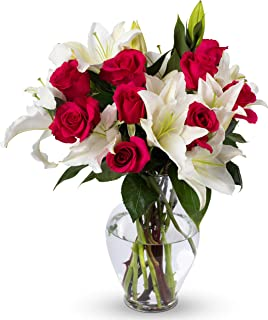 Benchmark Bouquets Hot Pink Roses and White Oriental Lilies, With Vase (Fresh Cut Flowers)