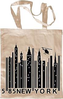 My Custom Style® Shopper in Cotone Naturale di Colore Beige Modello New York Barcode Manici Lunghi da 80cm; Formato Borsa ...