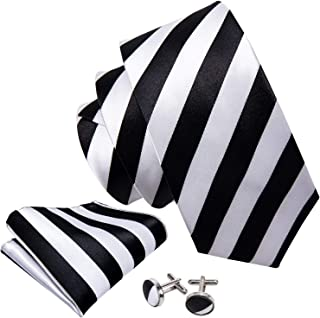 Stripe Mens Tie Set Classic WOVEN Necktie with Handkerchief Cufflinks Formal