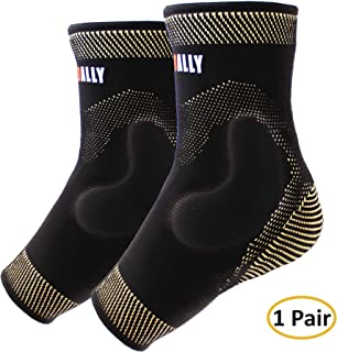 NeoAlly Ankle Brace Compression Support Sleeve with Silicone Gel, Reduce Foot Swelling & Prevent Ankle Injuries. Ankle Sleeve Helps Reduce Inflammation, Swelling, Soreness [1 Pair]