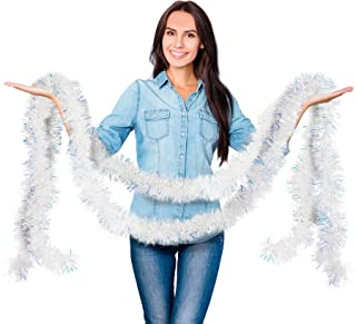 Iridescent White Christmas Fringe Tinsel Garland Metallic Streamers Celebrate a Holiday New Years Eve Party Indoor and Outdoor Tinsel Decorations Supplies