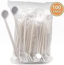 TENFLY 100pcs Disposable Dental Exam Mouth Mirrors Oral Dental Mirror Plastic Dental Instrument (White)