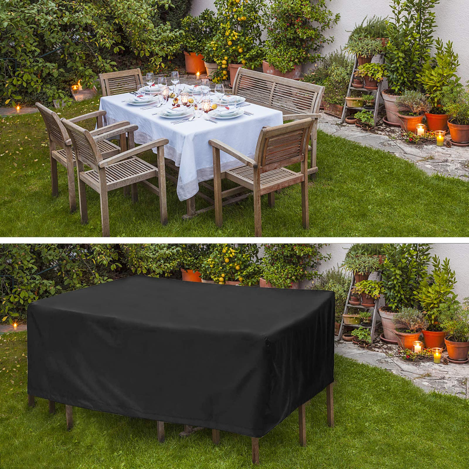 Landrip Garden Furniture Covers, Outdoor Table Covers Waterproof, Heavy Duty 420D Patio Set Furniture Covers (350 x 260 x 90CM)