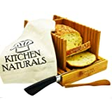 Premium Bamboo Foldable Bread Slicer – Built in Crumb Catcher and Knife Rest |Bread Slicing Guide