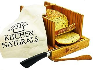 Premium Bamboo Foldable Bread Slicer – Built in Crumb Catcher and Knife Rest |Bread Slicing Guide, Bread Loaf Slicer– Bonu...