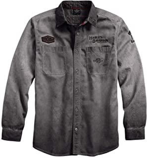 HARLEY-DAVIDSON Men's Iron Block Long-Sleeve Shirt, Grey