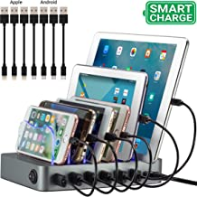 Smart Charging Station for Multiple Devices, Simicore 6-Port USB Charger Station with 7 Short Mixed Cables for Cell Phones, Smart Phones, Tablets (Space Gray)