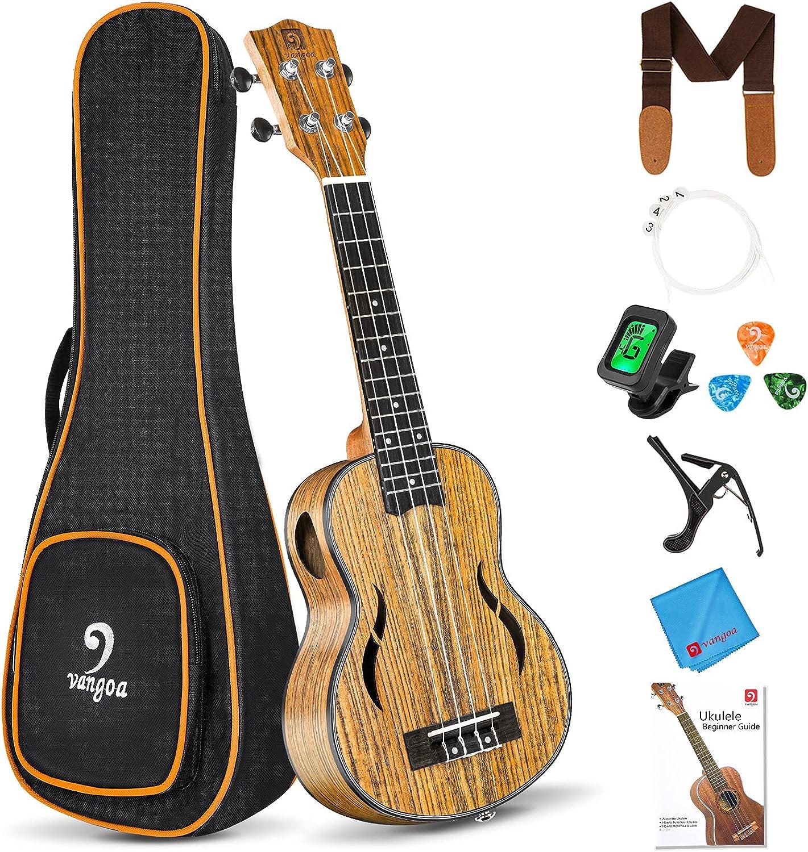 Vangoa Challenge the lowest price of Japan ☆ Soprano Ukulele Beginner shop Pack Acoustic Inch Uke 21 Walnut