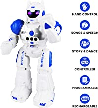 Boley Bot Strong Remote Controlled Robot Toy Gesture Control - Dancing, Singing, Walking Talking Robot Friend Kids - Blue