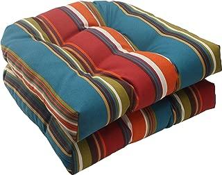 Pillow Perfect Indoor/Outdoor Westport Wicker Seat Cushion, Teal, Set of 2