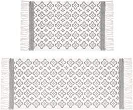 Pauwer Cotton Area Rug Set 2 Piece 2'x4.2'+2'x3' Hand Woven Cotton Rugs with Tassel Washable Printed Cotton Throw Rugs Run...